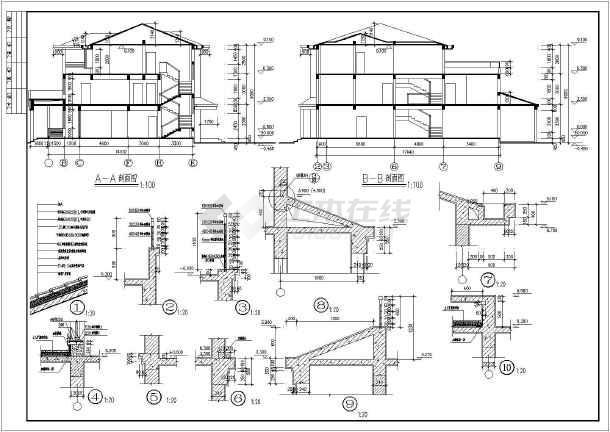 质保图纸 建筑设计施工图 别墅建筑施工图 独栋别墅 某三层别墅建筑