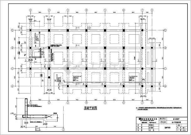 本图纸为某八层办公楼框架结构条形基础,图纸内容包括:结构设计图片