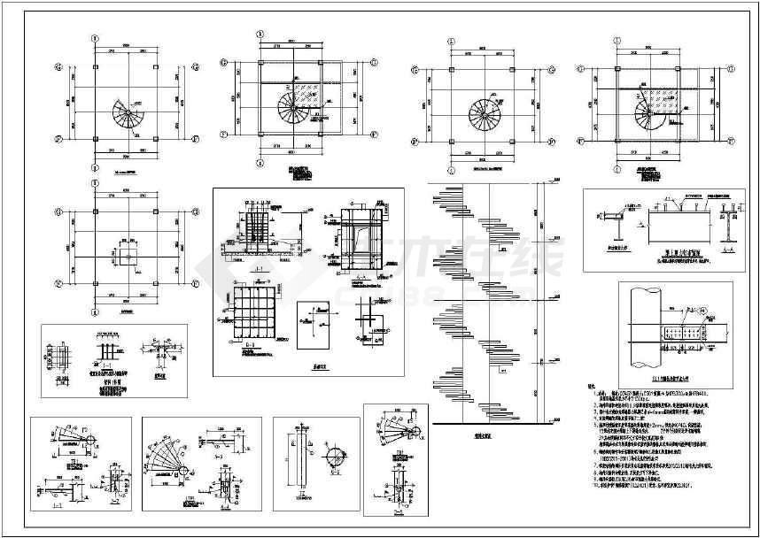 某中柱支撑钢结构螺旋楼梯结构施工结构图纸