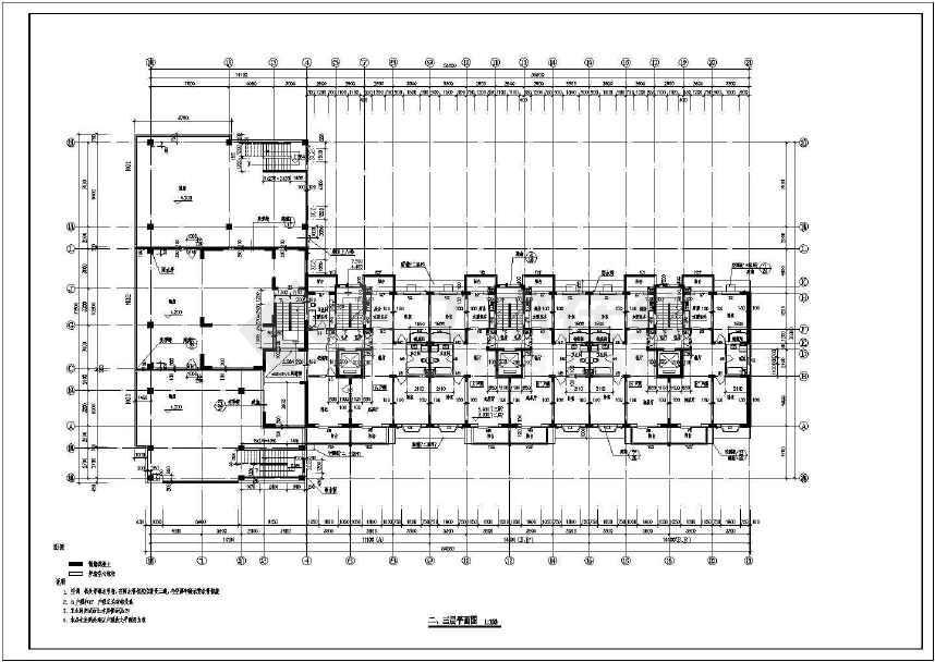 本图纸为高层住宅楼建筑平面设计图纸,共7张,图纸包括屋顶平面图