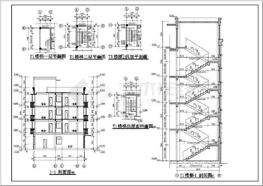 4层框架结构自建民宿(亦可为宾馆)建筑图