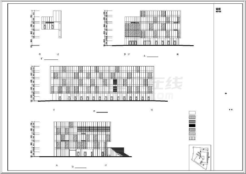 图纸包含:设计说明,总平面图,各层平面图,立面图,剖面图,节点图