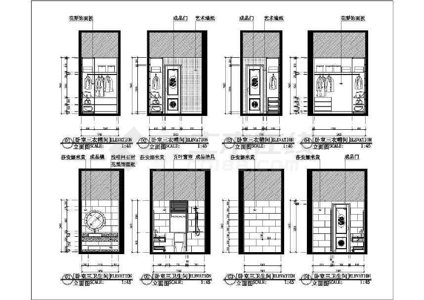 三层别墅雅居室内设计施工图 附效果图高清图片