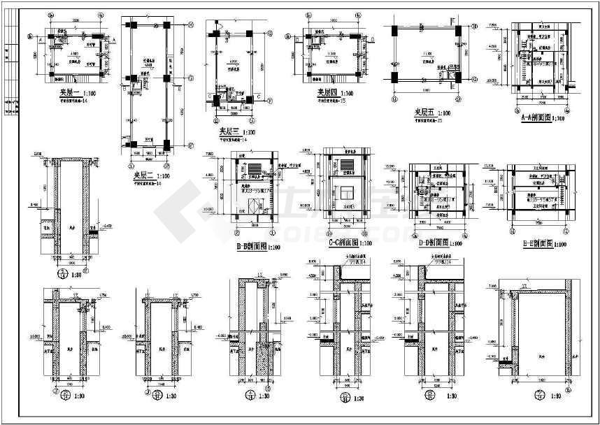 某框架剪力墙结构酒店建筑设计施工图全套图纸