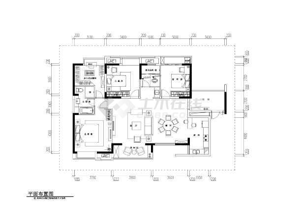 欧式风格三室两厅图纸样板房装修设计v风格CA住宅鳄鱼夹图片