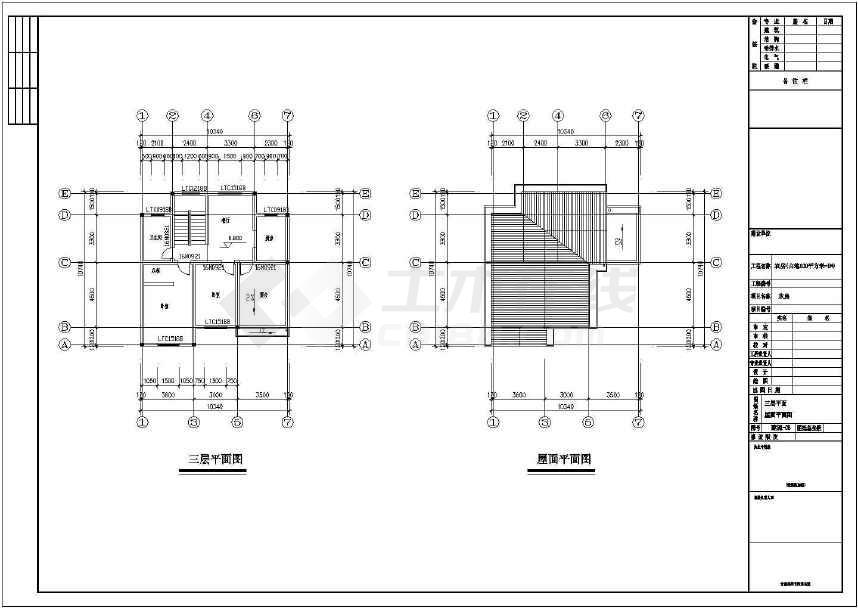 3层新农村独栋别墅建筑,结构施工图