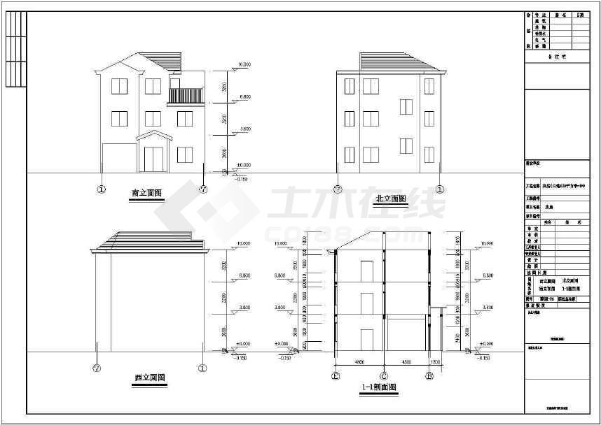 3层新农村独栋别墅建筑、结构施工图-图3