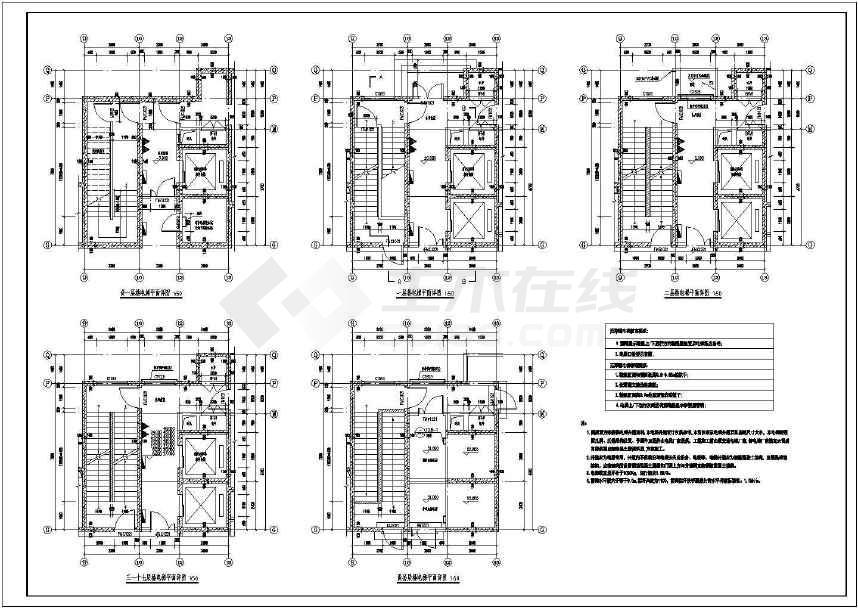 某寒冷地区17层塔式住宅剪刀梯设计图(按新火规)