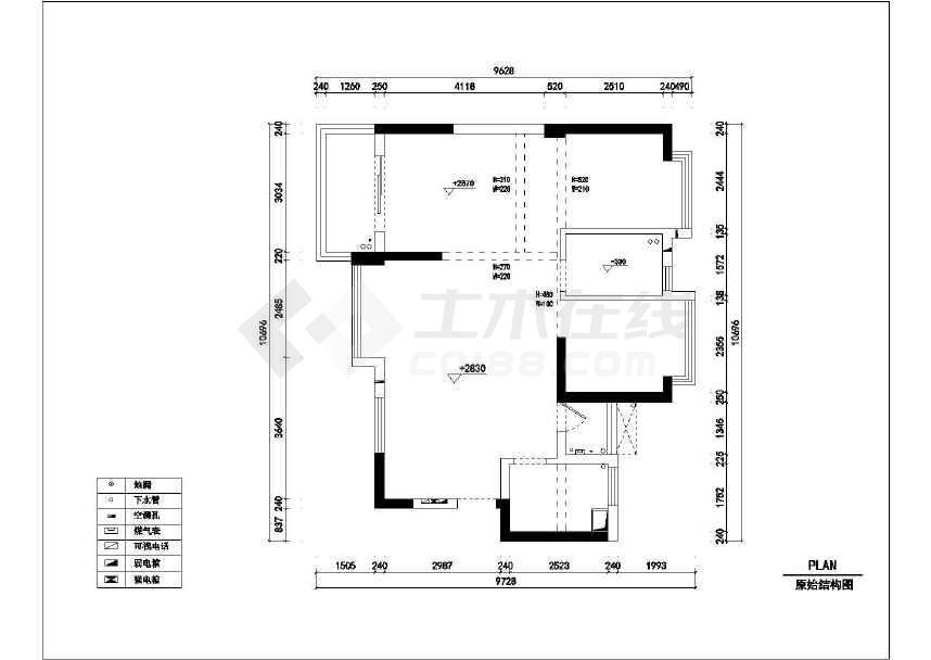 风格地中海精品三居室室内装修设计施工cad图cad没有了对话框填充图片