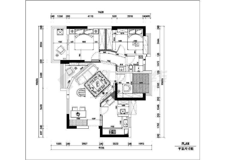 精品地中海风格三居室室内装修设计施工cad图45xcad+1的怎么倒角画图片