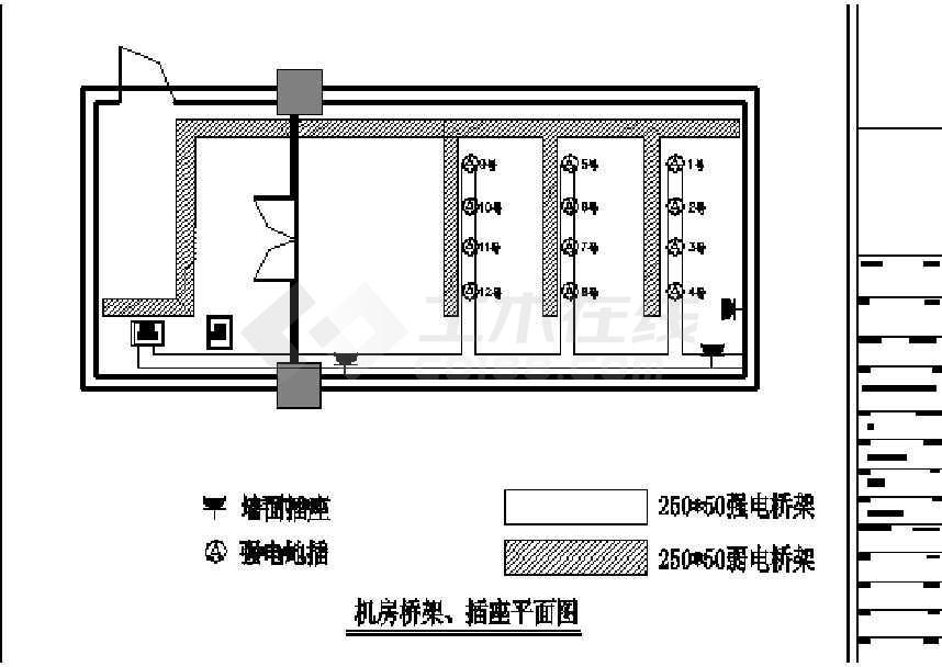 电梯机房平面布置图_某地中心机房设备布置电气设计图纸下载-土木在线