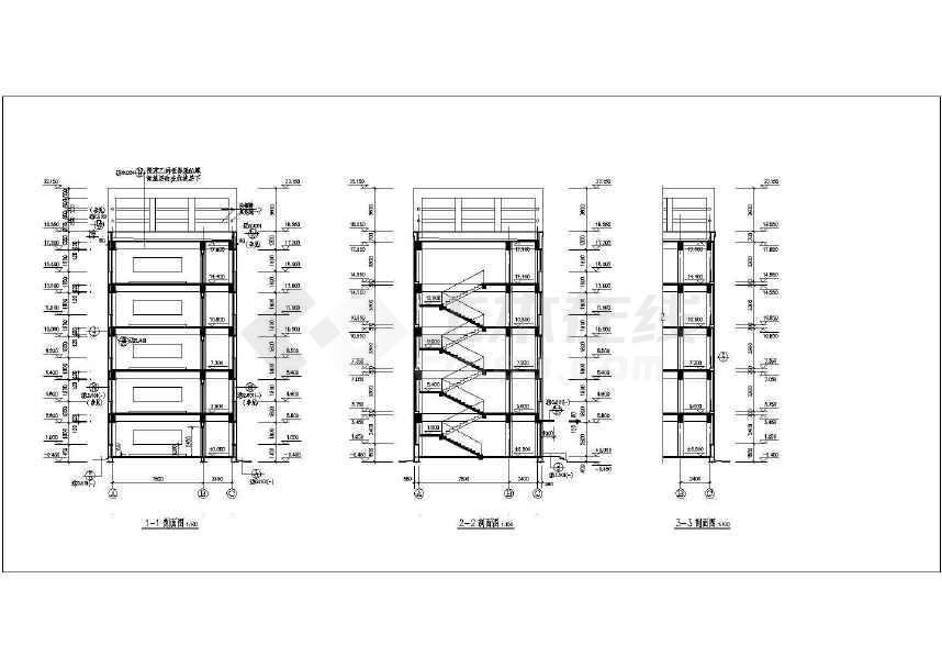 中学教学楼建筑施工图,图纸内容包括:设计总说明,门窗统计表,一层平面图片