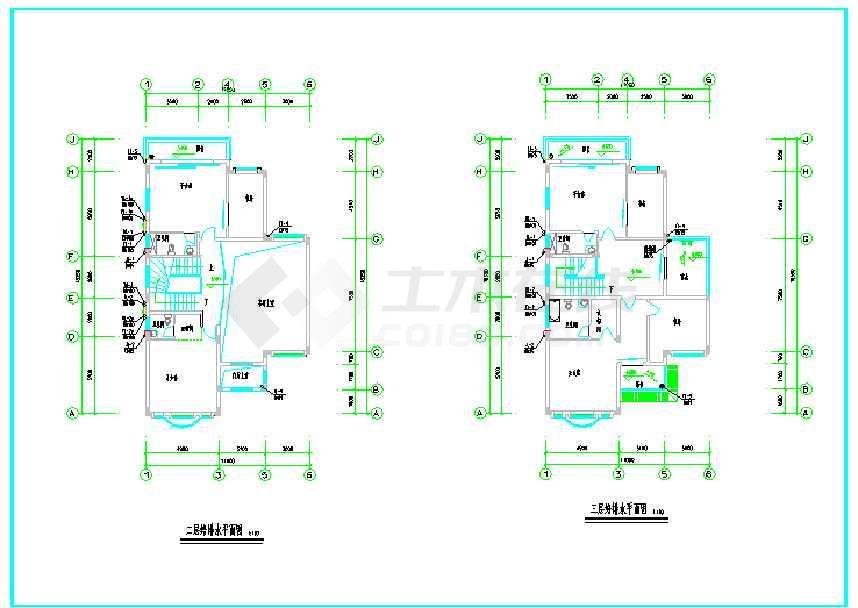 某三层别墅给排水设计详细cad施工图下载 土木在线