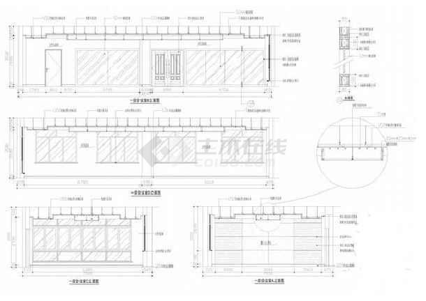 一层食堂立面图;二层副总办公室平顶面图及立面图;二