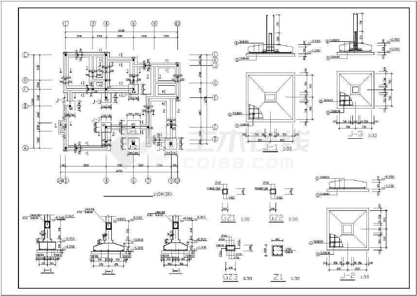 二层砌体结构别墅结构施工图(条形基础)