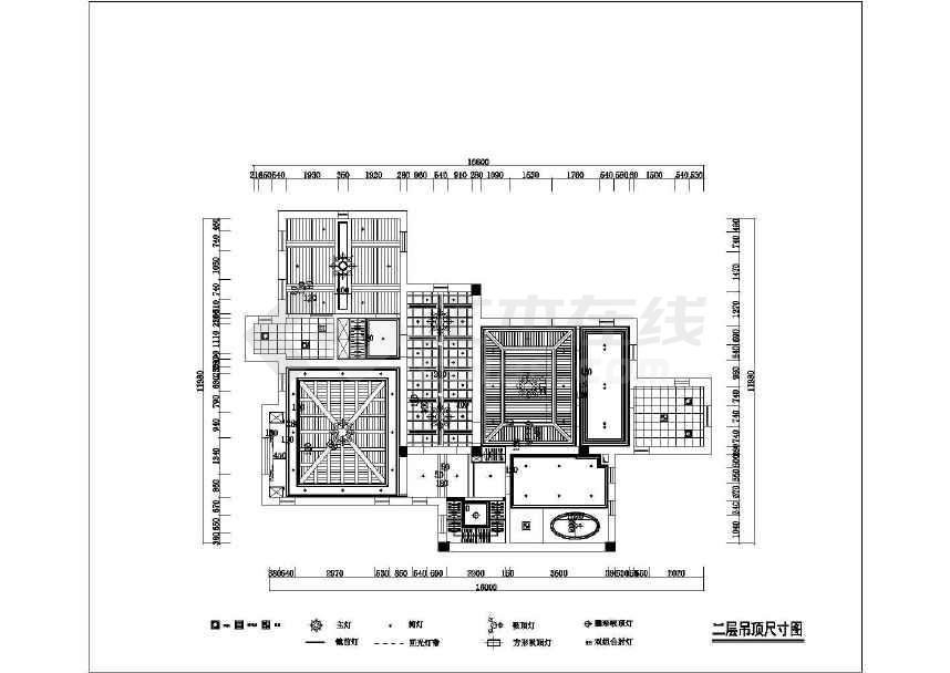 欧式风格三居室室内装修施工图 含效果图高清图片
