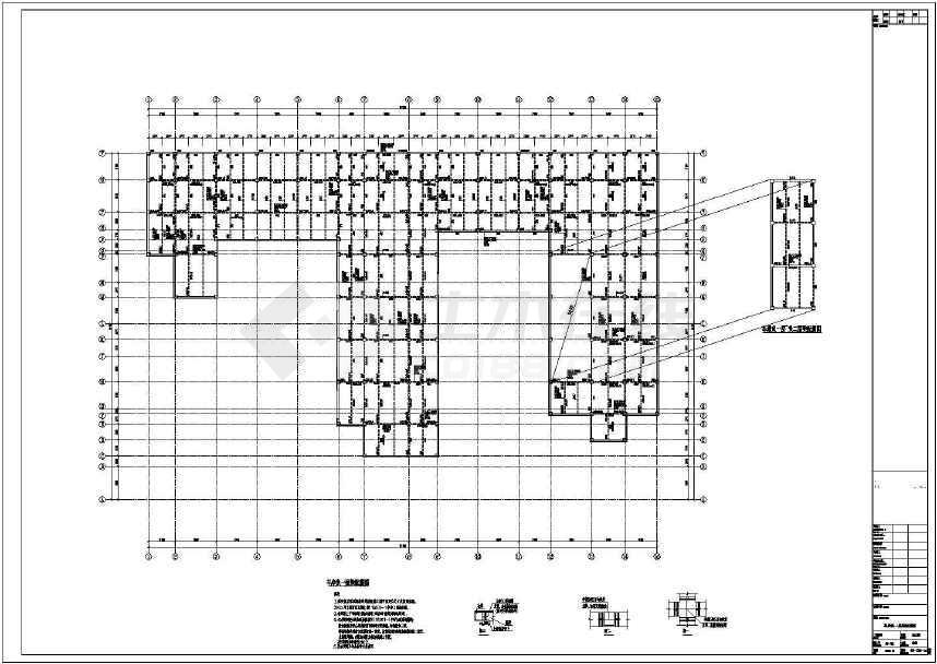 某小区地下一层框架结构地下车库结构施工图