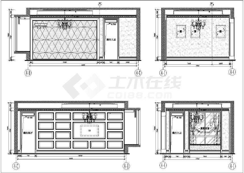 下室别墅样板房装修施工图 附效果图和水电高清图片