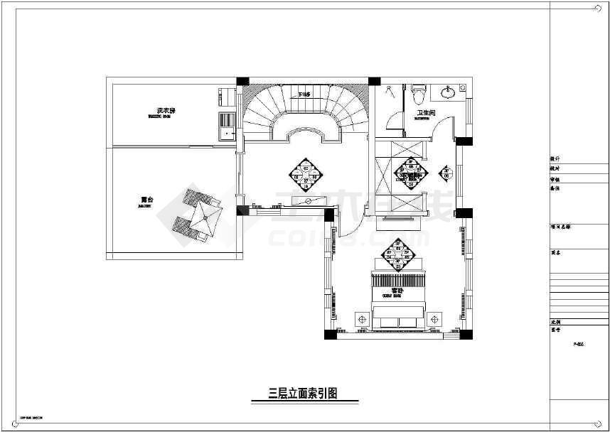【江苏】现代奢华效果室内装修施工图(含别墅豪华别墅现代卧室图片