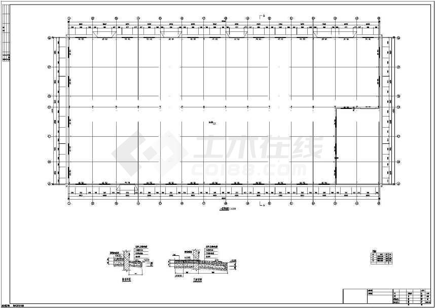 16米高双跨钢结构生产车间建筑结构施工图