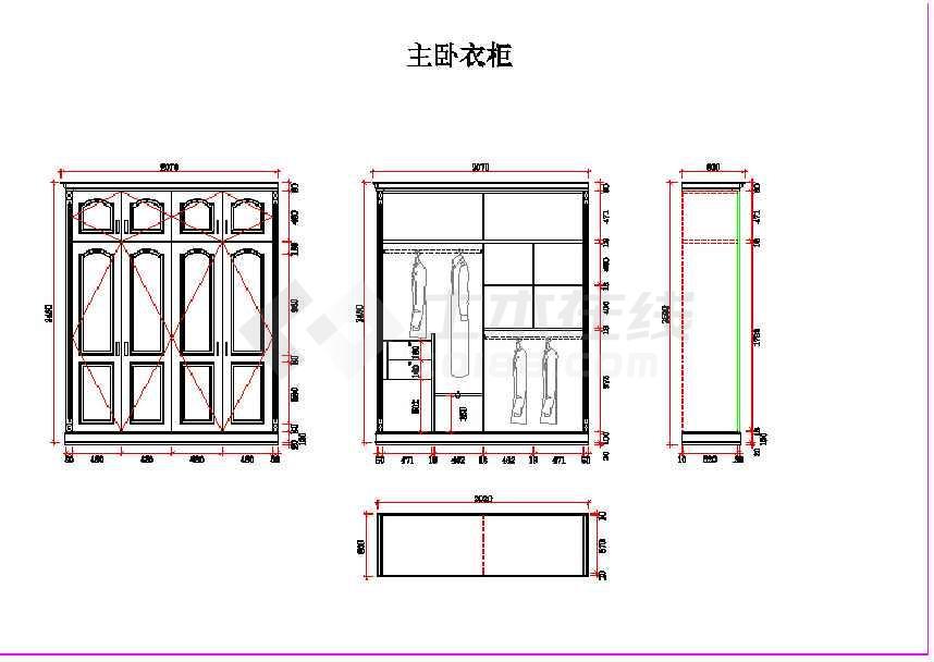 某小型主卧实际尺寸定制衣柜装修图