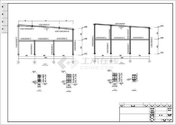 两层钢结构福特4s维修店结构图(含建筑图)