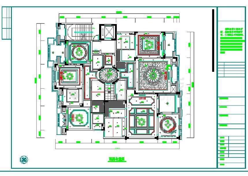 欧式风格三居室室内装修CAD施工图 含效果图高清图片