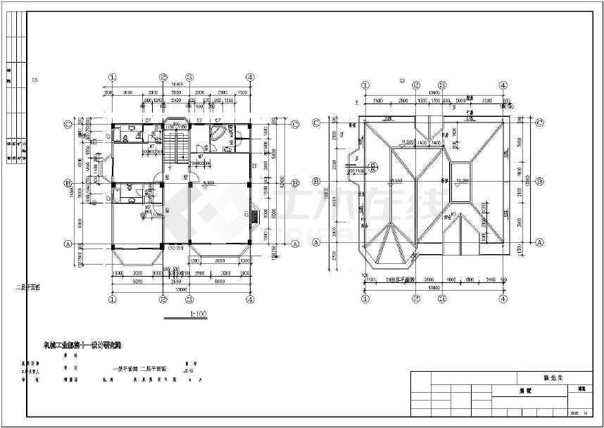 三层框架结构现代风格别墅建筑施工图-图2