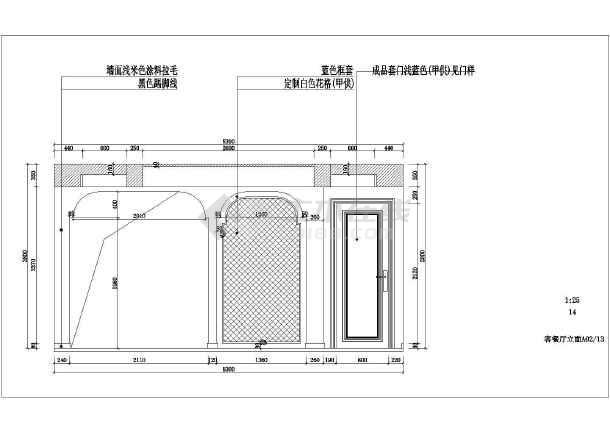 地中海风格三室两厅室内设计施工图(附效果图)