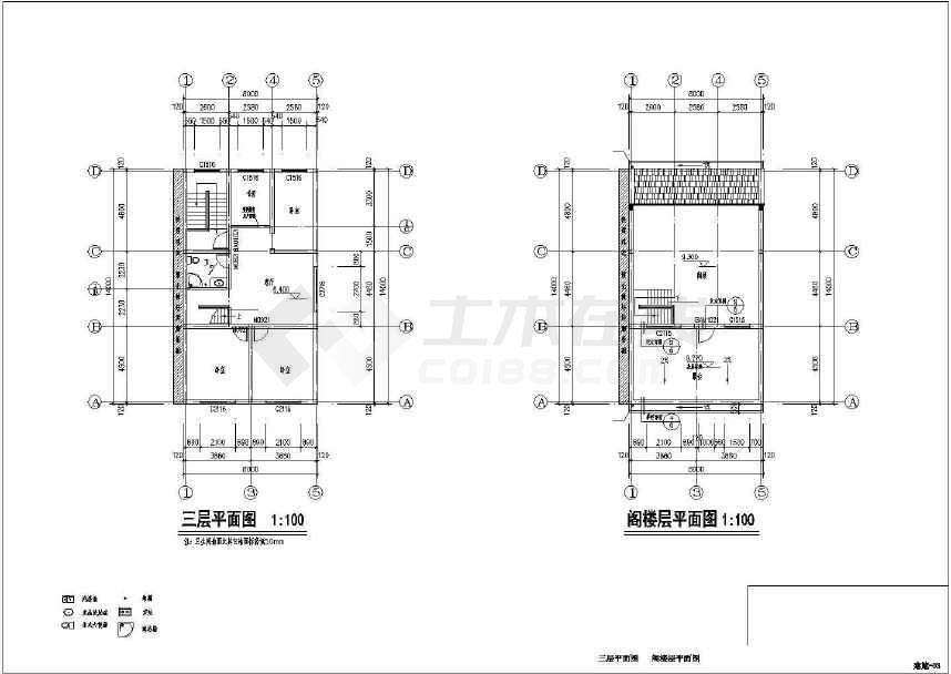 结构图(基础平面布置图,承重墙布置图,梁板配筋平面图,楼梯配筋详图