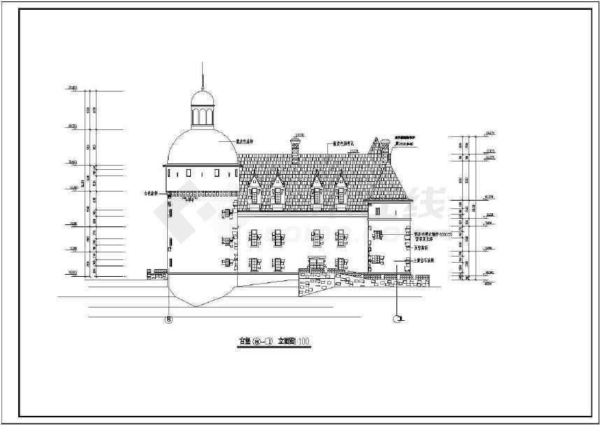 3层仿古建筑城堡全套建筑设计施工图图片
