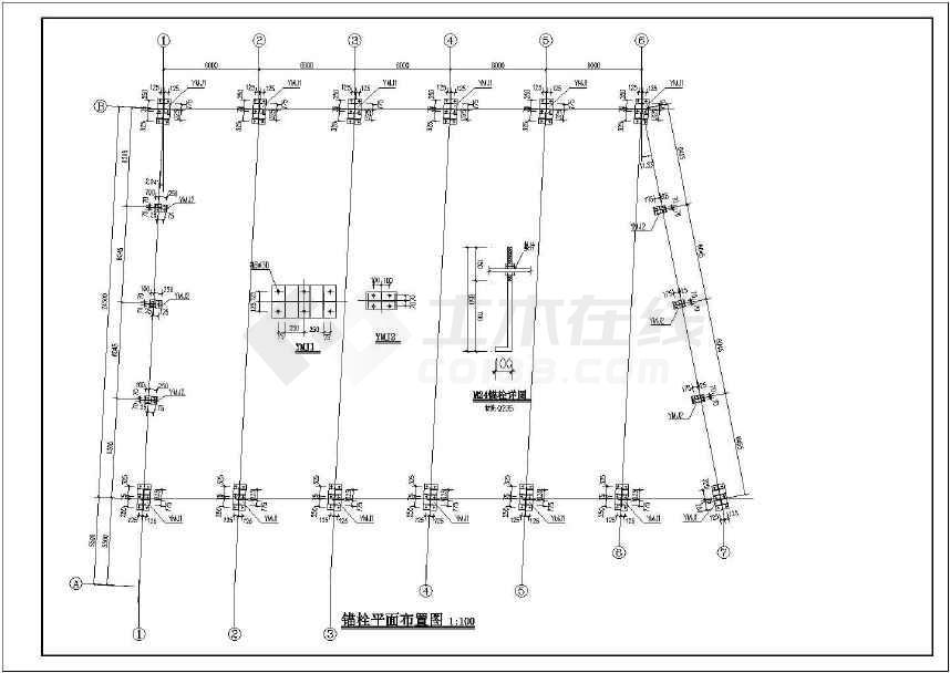 带拉杆格构式斜梁门式刚架结构施工图