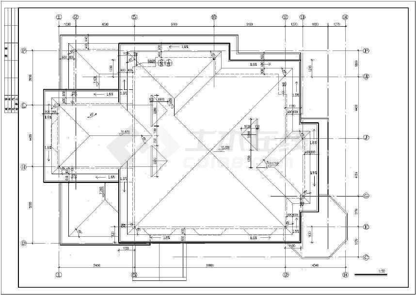 【北京】四层坡屋顶框架结构豪华别墅建筑施工图