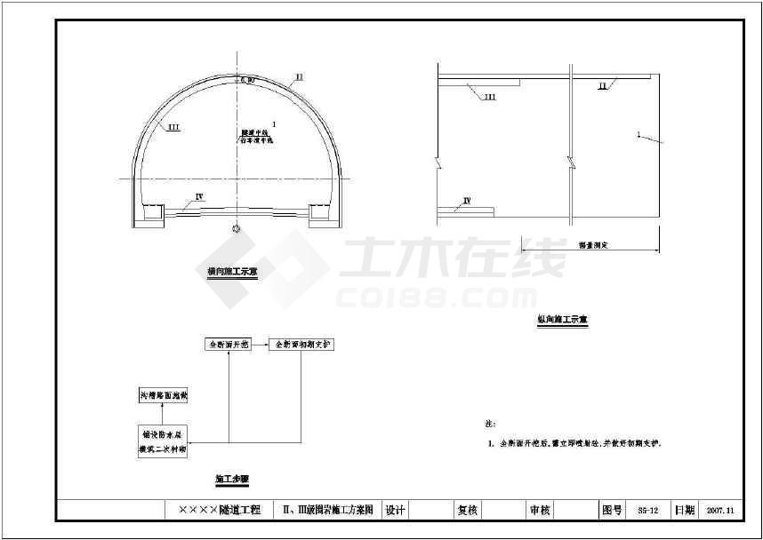 某地480米复合式缩放隧道施工图纸(含消防装饰品茗布图纸衬砌场图片