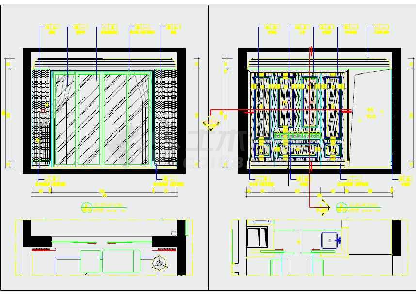 格三居室样板间室内设计装修施工图下载 土木在线