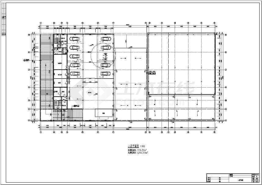 两层钢结构大众汽车4s店建筑,结构图(cad图纸下载)