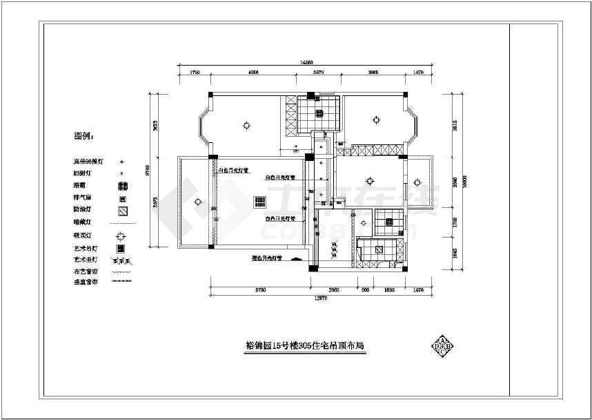 裕锦园15号楼家居三室二厅装修设计图