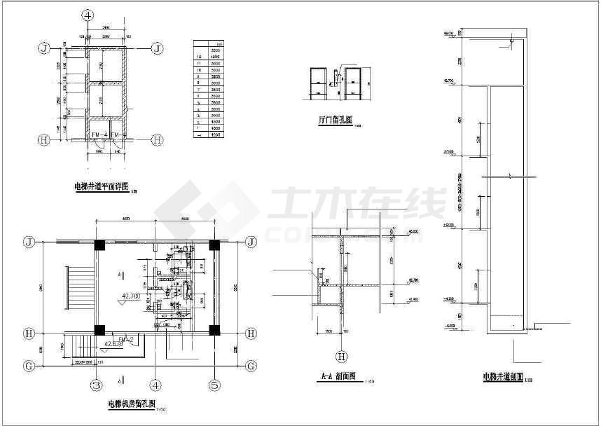 建筑设计施工图,图纸包括各层平面图,立面图,剖面图,屋顶飘板平面图
