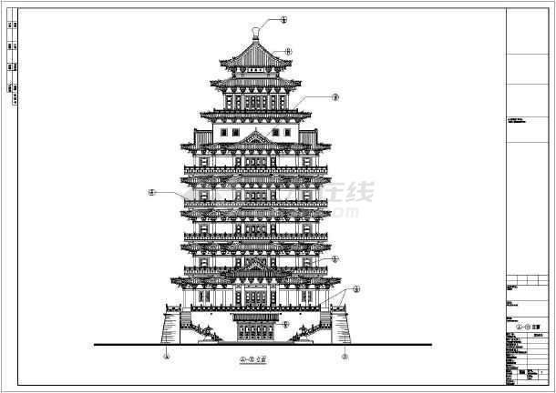某9层塔式商业旅游建筑设计方案施工图图片