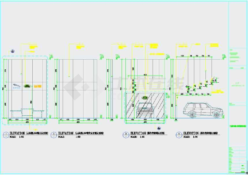 某现代风格4S店销售服务装修设计施工图 含效果图及实景图高清图片