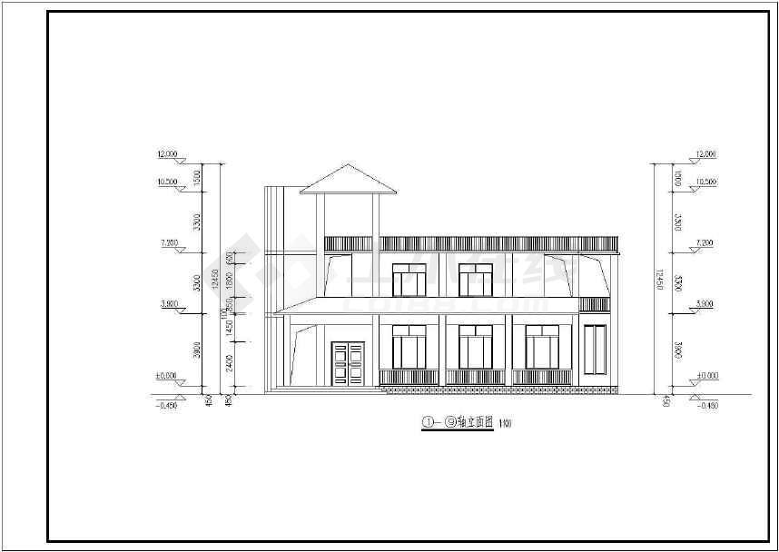 两层长17.70米 宽10.50米农村自建房建筑设计图