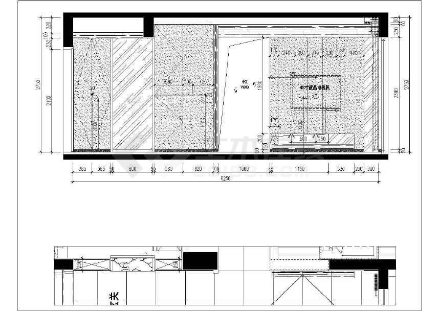 两室两厅室内精装修施工图 附效果图高清图片