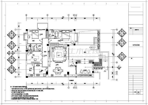 新中式画纸两居室样板房初学图(含效果图)_ca装修风格图纸妆上图片