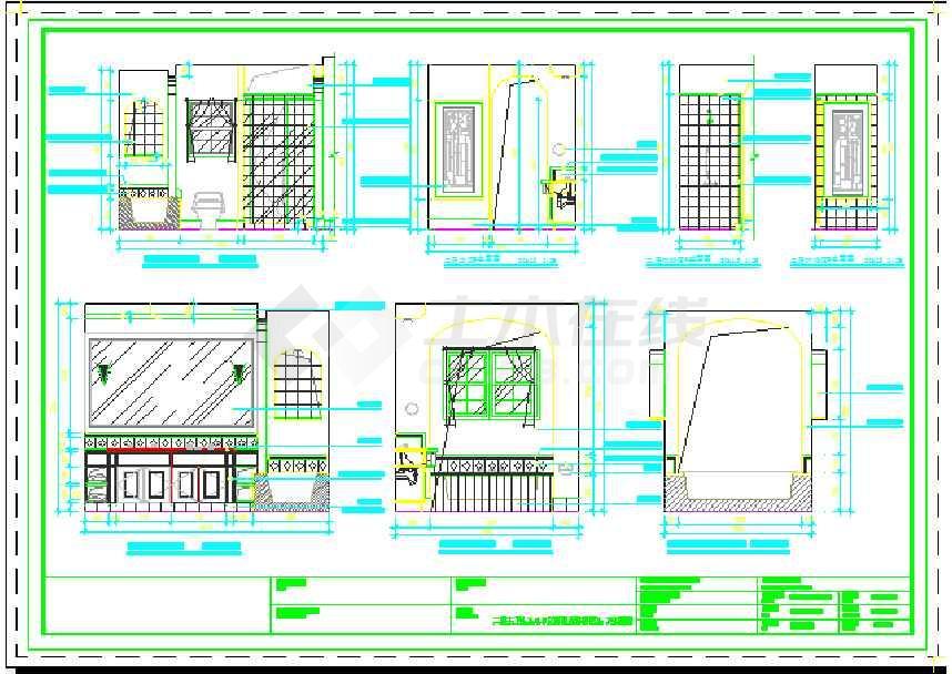 给排水平面图),立面(娱乐室,工人房,洗衣房,棋牌室,红酒吧,过厅,酒窖