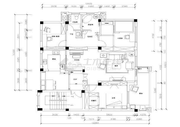 地中海田园风格三室两厅住宅装修施工cad图纸图片