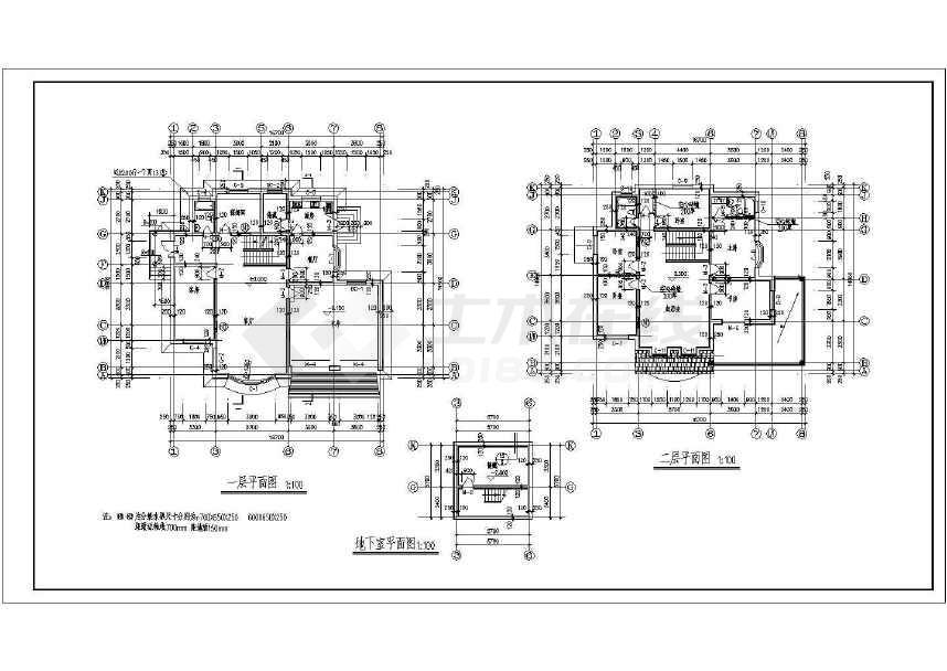 层砖混结构小别墅建筑施工图,图纸内容包括:建筑设计说明,一层平面图