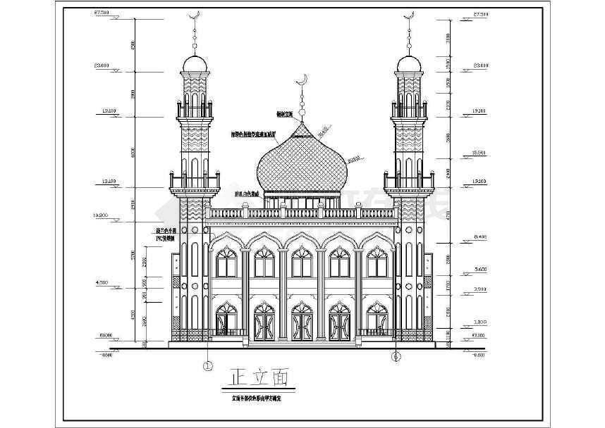 某两层框架结构清真寺设计施工图(含建筑图)