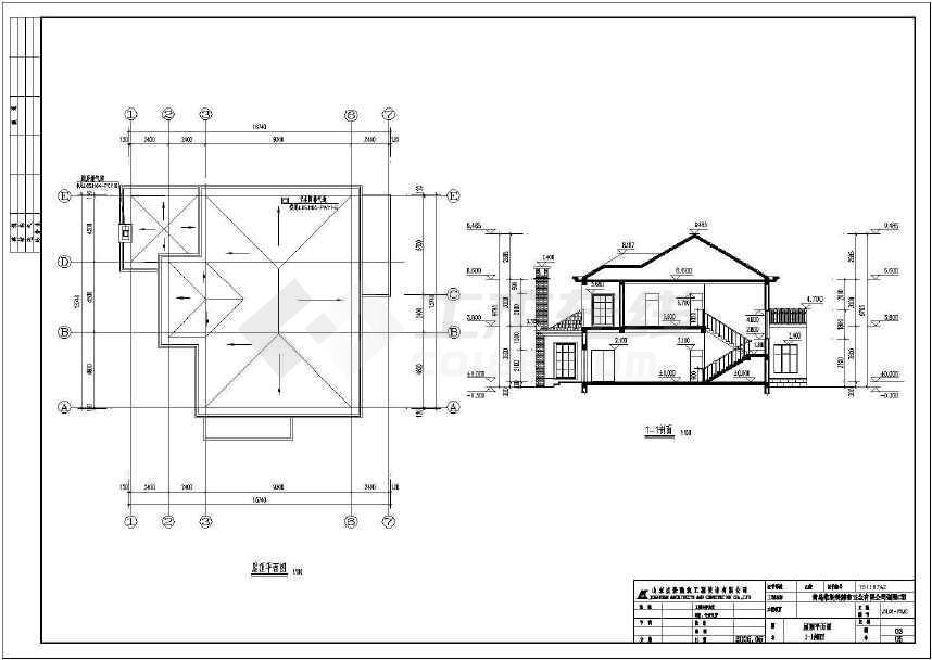 二层独栋别墅建筑设计施工图(含效果图)-图1