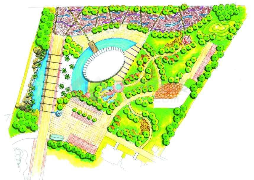 居住区景观规划设计方案,内容包括规划总平面图,3张人工湖的局部平面