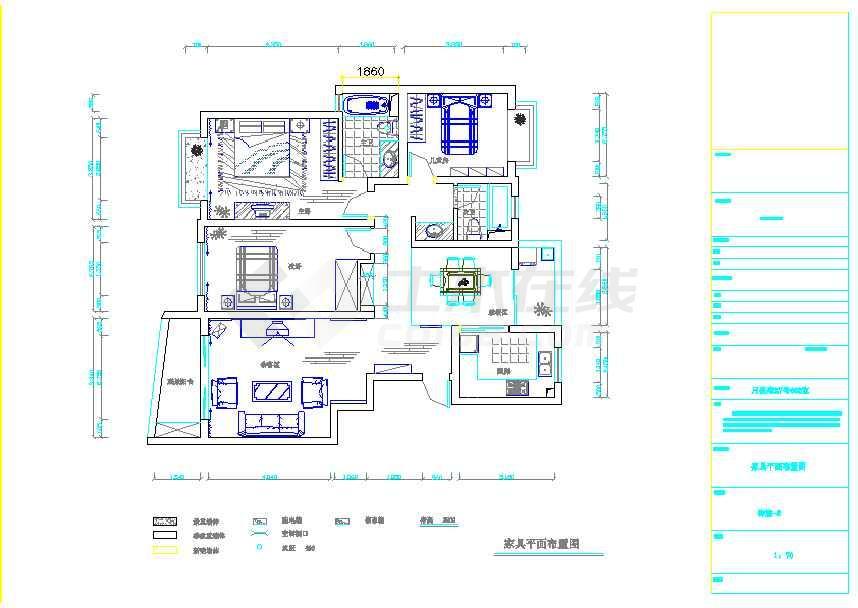 某小区三室两厅装修设计施工图 内含效果图高清图片